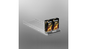 Shelf organizer with slightly rounded front