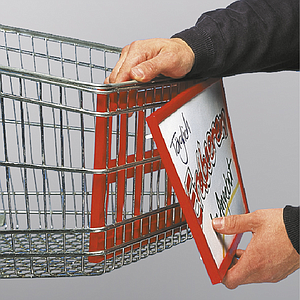 BASKET DISPLAY FOR SHOPPING TROLLEYS, A4L, WITH CLIP FIXING
