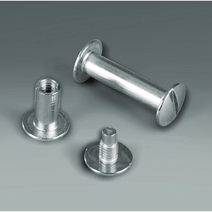 SCREW AND NUT NICKEL SET, D 10 MM OUTER HEAD FOR 10 MM MATERIALS THICKNESS