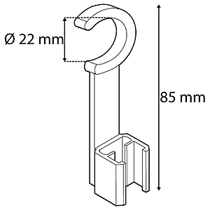 TUBE CLIP, SWIVEL TYPE, D 22 MM, L 85 MM, FOR FRAMES SERIES 1