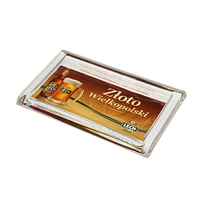 RECTANGULAR GLASS CASH TRAY, 220X140X18 MM, 186X105 MM PRINT SIZE