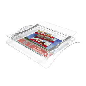 PLASTIC CASH TRAY WITH 2 MM GLASS SURFACE, 280X235X50 MM, FOR PRINT WITH 198X233 MM
