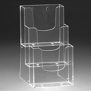 PLASTIC LEAFLET DISPENSER 3XA4P WITH HOLES, USABLE BASE DIMENSION 231 x 34 MM