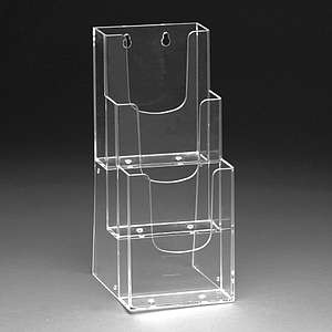 PLASTIC LEAFLET DISPENSER 3X1/3 A4P WITH HOLES FOR MOUNTING WALL, USABLE BASE DIMENSION 107X31 MM