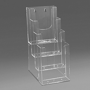 PLASTIC LEAFLET DISPENSER 4X1/3 A4P WITH HOLES FOR MOUNTING WALL, USABLE BASE DIMENSION 107 X 31 MM