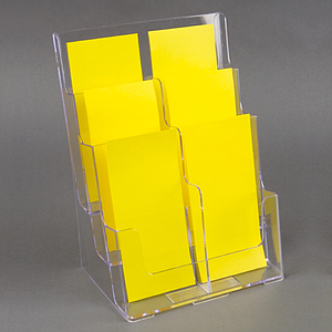 PLASTIC LEAFLET DISPENSER WITH 3 TIERS AND 6 1/3A4P POCKETS, WITH HOLES FOR MOUNTING WALL, USABLE BASE DIMENSION 231x34 MM