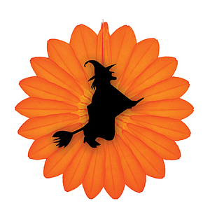 HALLOWEEN ORNAMENT MADE OF ORANGE PAPER, FLOWER WITH BLACK WITCH ON BROOM, 680 MM HEIGHT