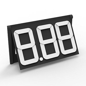 PP30 ARTICULATED MODULE BLACK, 36X62 MM, 3 WHITE DIGITS 30 MM H, WITH HOLDER AND POINT