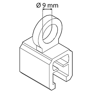 SUSPENSION RING PERPENDICULAR, D 9 MM, FOR FRAMES SERIES 1