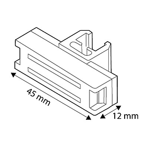 MAGNETIC FASTENER RECTANGULAR, 45X12 MM, FOR FRAMES SERIES 1, 2,8 KG MAGNETIC FORCE, PERPENDICULAR DISPLAY