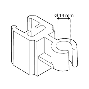 TUBE CLIP FOR FRAMES SERIES 2, FIXING ON D 14 MM