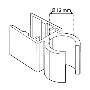 TUBE CLIPS FOR FRAMES SERIES 500, FOR 12 MM D TUBES