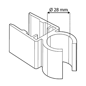 TUBE CLIPS FOR FRAMES SERIES 500, FOR 28 MM D TUBES