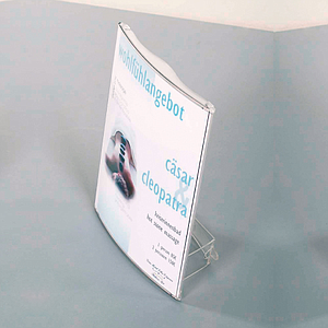 QUICKFIX DISPLAY MADE OF POLYCARBONATE, A4P, WITH SUPPORT