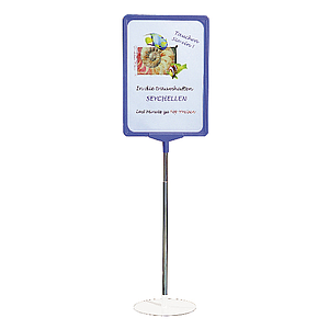 SHOWCARD STAND L, A4P FRAME, ADJUSTABLE TUBE 320-620 MM, WHITE, BLACK OR GRAY BASE