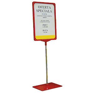 SHOWCARD STAND K WITH ADJUSTABLE TUBE 320-620 MM, PLASTIC BASE, A5P