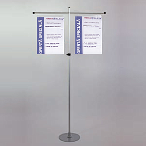 GALLOW SHOWCARD STAND, 2 GALLOWS 2X400 MM, ADJUSTABLE TUBE 1000 - 1900 MM