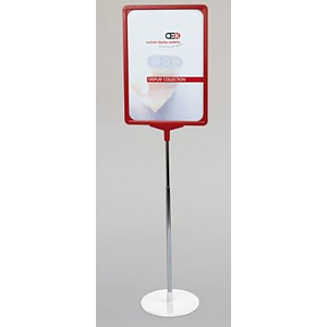 SHOWCARD STAND K ROUND, A4L FRAME, ADJUSTABLE TUBE 320-620 MM, ROUND BASE