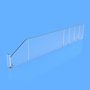 "PET DIVIDER 90X485 MM (HXL), WITH TWO FIXING POINTS, ""L"" FRONT IN LEFT SIDE, 12X50 MM"