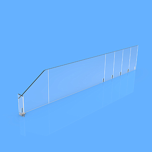 "PET DIVIDER 90X485 MM (HXL), WITH TWO FIXING POINTS, ""L"" FRONT IN RIGHT SIDE, 12X50 MM"