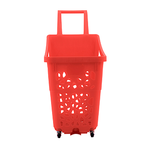 MONOBLOC SHOPPING BASKET WITH 2 FIXED WHEELS, 60 L