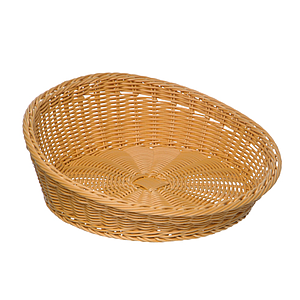 BRAIDED ROUND BASKET, 310 MM BASE DIAMETER, HEIGHT: 60 MM IN FRONT AND 120 MM IN BACK