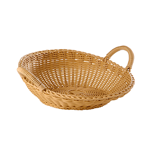 BRAIDED ROUND BASKET WITH TWO HANDLES, 365X120 MM (DXH)