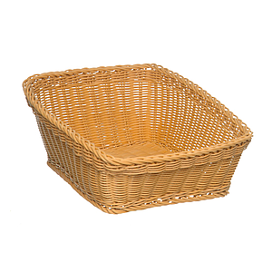 BRAIDED RECTANGULAR BASKET MADE OF PLASTIC, BASE SIZE: 400X500 MM (LXl), HEIGHT: 140 MM IN FRONT AND 250 MM IN BACK