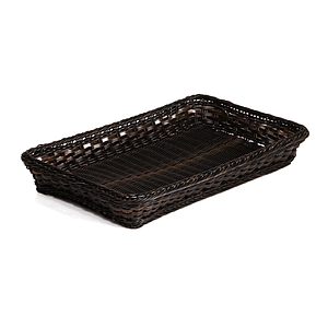 BRAIDED RECTANGULAR GN 1/1 BASKET MADE OF PLASTIC, BASE SIZE: 530X325X65 MM (LXlXH)