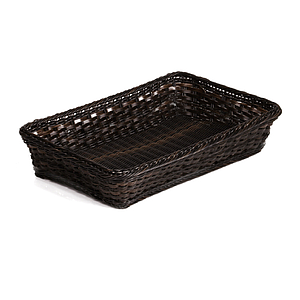 BRAIDED RECTANGULAR GN 1/1 BASKET MADE OF PLASTIC, BASE SIZE: 530X325X100 MM (LXlXH)
