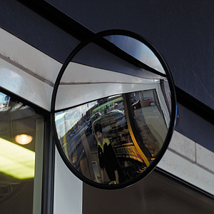 CIRCULAR MIRROR WITH CONVEX SURFACE AND ADJUSTABLE ARM, 800 MM DIAMETER