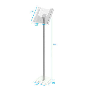 STAND WITH METALLIC RECTANGULAR BASE, ALUMINIUM ROD OF H 1000 MM, AND ADAPTOR FOR FIXING LEAFLET DISPENSER CPA 030-421
