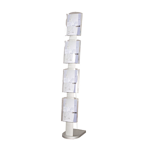 PLASTIC SOLID ZIP LEAFLET DISPENSER 4 A4P, WITH STEEL SHEET SUPPORT, H 1700 MM, BASE SIZE 280X380 MM