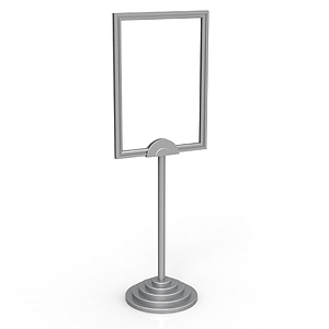 SHOWCARD STAND DEKO, A4 FRAME, FIXED TUBE 320 MM AND SILVER STEPPED BASE